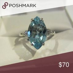 Sterling Silver Blue Topaz marquise cut Sterling Silver real Blue Topaz gemstone marquise cut Jewelry Rings