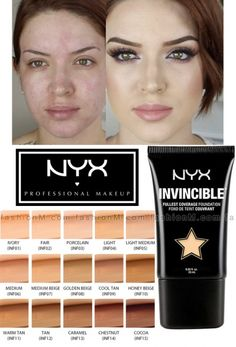 I need the ghost shade. The one that is white on white lol NYX Invincible Fullest Coverage Foundation Makeup To Buy, Makeup Swatches, Drugstore Makeup, Love Makeup, Makeup Geek, Skin Makeup, Makeup Addict, Makeup Tips, Makeup Ideas
