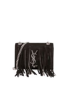 Monogram Small Suede Shoulder Bag w/Chain Fringe, Black by Saint Laurent at Neiman Marcus.