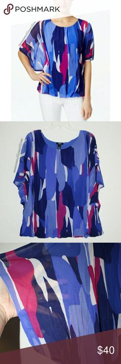 Alfani Angel Sleeve Bubble Hem Blouson Top New with Tags Attached - Never Worn  Size: 2X (see size chart) Plus Size  Color: Blue Orchid Multi  An allover abstract print, bubble hem & angel short sleeves detail this fabulous blouse from Alfani.   Perfect with pants or a skirt for all day chic!  Check my page for more great items & discounts. #oneinamillionjillian #batwing #dolman Alfani Tops Blouses