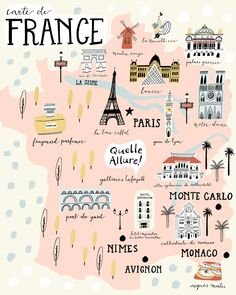 Map of France Travel Maps, Travel List, Paris Travel, Travel Posters, Travel Guides, Places To Travel, Travel Destinations, Map France, France Travel