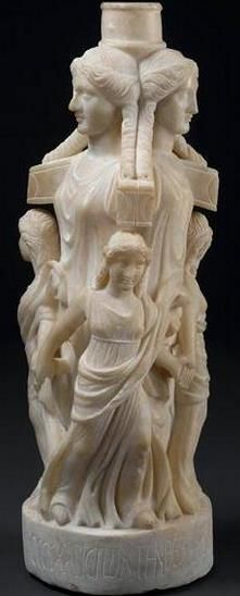 Hekate surrounded by a circle of dancing maidens - from the Mithraeum in Sidon; III BC; now Louvre musuem