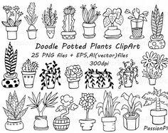 Doodle clipart de plantes en pot, dessiné à la main des plantes, succulentes en pot, fleur de silhouettes, png, eps, ai, vecteur, personnelle et commerciale