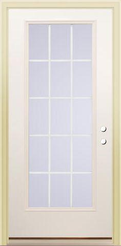 Mastercraft 32 X 80 Grille Between The Gl Low E Full 15 Lite Primed Steel Prehung Exterior Door