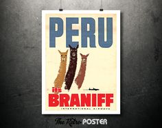 1950s Peru - It's Braniff International Airways - Vintage Airline Travel Poster or Canvas // High Quality Fine Art Reproduction Giclée Print by TheRetroPoster on Etsy