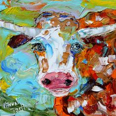 Longhorn Print art made from past oil painting by Karen's Fine Art – Gallery Represented Modern Impressionism in oils Fine Art Print by Karen