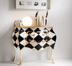 Gold Leaf Harlequin Chest. Black and white pattern. Modern console. Luxury furniture. Interior design ideas. home decor ideas. Interior design. For more inspirational ideas take a look at: www.bocadolobo.com