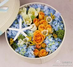 Ooo, I love this idea of orangie'ish colored roses with blue hydrandas!!