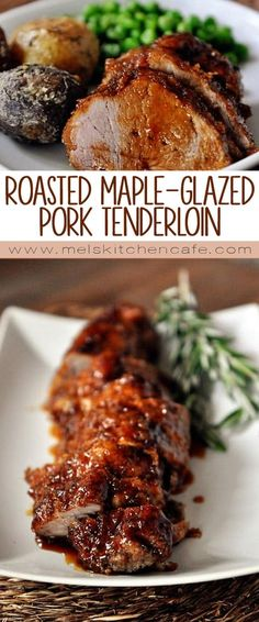 Not only is this roasted pork tenderloin with maple glaze incredibly simple to make, the sweet and smoky flavors are an amazing combination! Pork Recipes, Cooking Recipes, Healthy Recipes, Spinach Recipes, Savoury Recipes, Yummy Recipes, Cooking Tips, Yummy Food, Gourmet