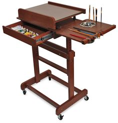 Rolling Painting Table - Rolling Painting Table Supplies Not Included Art Easel Art Rolling Painting Table As Easel Front View Table Easel Painted Craftech Huntington Rolling . Art Studio Storage, Art Studio Organization, Art Storage, Home Art Studios, Art Studio At Home, Artist Studios, Studio Furniture, Art Furniture, Painting Studio