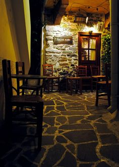 ~ Night café - Naxos ~ by Nikos Golfis Greek Isles, Greece Islands, Fishing Villages, Sandy Beaches, Byzantine, Night Life, Monsters, Sea, Travel