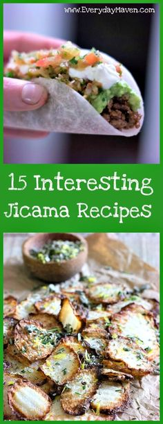 15 Interesting Gluten Free (and mostly Paleo) Jicama Recipes from Everyday Maven. Jicama is a great low carb veggie that lends itself to a variety of dishes both cooked and raw. Spice it up with seasonings, fruits, veggies, meat it's very versatile! Jimaca Recipes, Vegetable Recipes, Low Carb Recipes, Real Food Recipes, Vegetarian Recipes, Cooking Recipes, Healthy Recipes, Pescatarian Recipes, Gastronomia