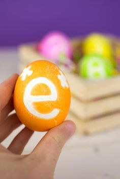 These monogrammed Easter eggs are a perfect way to spice up your Easter celebration. These monogrammed Easter eggs are easier to make than you'd think, and that add a little something extra to any basket. Diy Monogramm, Construction, Easter Celebration, Spice Things Up, Easter Eggs, Easy Diy, Crafts For Kids, Fruit, Sunday