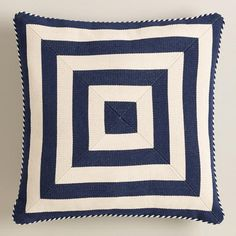 One of my favorite discoveries at WorldMarket.com: Navy Mitered Square Throw Pillow
