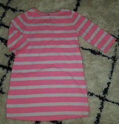 Baby Gap girls 4T neon pink stripe t-shirt dress 3/4 sleeve