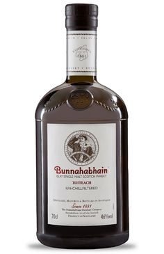 """Toiteach Toiteach (pronounced Toch Chach), answers the question; """"What if a touch of smoke from our peated malted barley was introduced in the distillation process?"""" Distinct from that of other Bunnahabhain single malts famous for their welcoming taste, Toiteach (meaning smoky in Scots Gaelic), is a delicious, peaty whisky."""