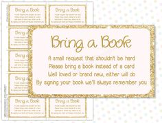 Bring a book instead of a card Pink Gold (INSTANT DOWNLOAD) - Bring a book baby shower insert - Pink and gold baby shower BA001G by PeachPuffDesigns on Etsy https://www.etsy.com/listing/235035051/bring-a-book-instead-of-a-card-pink-gold