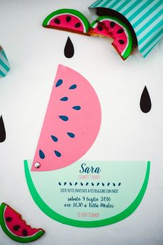 "Movable watermelon birthday invitation from this Watermelon Birthday Party at Kara's Party Ideas. So much more to see at karaspartyideas.com! Just click the ""visit"" tab to see it all!"