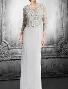 Mãe do vestido da noiva - Longo Tubo/Coluna - Jóia ( Renda ) – USD $ 149.99
