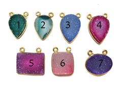 24kt Gold Plated Bezel druzy Necklace Connectors  by finegemstone, $8.00