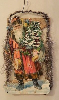 Antique Victorian Christmas Tinsel Ornament Die Cut German Santa Claus Scrap