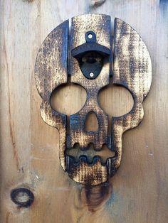 Skull Bottle Opener by KopaceticKreations on Etsy Beer Bottle Opener, Bottle Openers, Men Cave, Recycled Wood, Liquor, Door Handles, Recycling, Gadgets, Skull