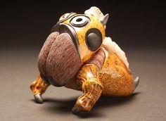 Spyborg, Earthenware Clay, Polymer Clay, Glass Eye and Metal Washers, 5x5x6.75in., 2016
