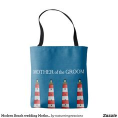 Modern Beach wedding Mother of Groom lighthouse Tote Bag