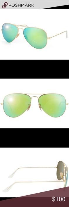 Ray-Ban Aviator RB3025  Green Flash Sunglasses Ray-Ban Aviator RB3025 Unisex Gold Frame Green Flash Lens Sunglasses Protect your eyes while showing some flair with these Ray Ban 3025 classic aviator sunglasses. Made in Italy, these aviator sunglasses feature gold frames and green mirrored lenses. The metallic frames offer durability while the lenses provide 100 percent protection against UVA rays. Features gold metal frames with green mirrored lenses Ray Ban model number RB 3025 112/19…