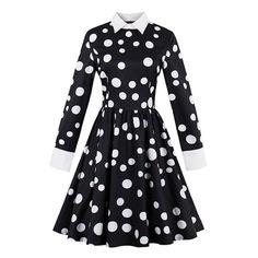 vintage dress autumn black white polka dots a line cotton dress retro long sleeve fashion women vintage dress new Tag a friend who would love this! Visit our store