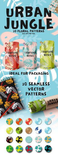 The 20 Urban Jungle Pattern Vol.4 is created from 100% vector shapes (resizable). All vectors are created in CMYK color format. With a variety of file types such as EPS SVG or PNG with transparent background this vector pack is ready to use. This 20 Urban Jungle Pattern Vol.4 can be used in blog backgrounds social media template backgrounds packaging and textile designs. With many color combinations this illustrated pattern can make your graphics pop. What is inside the Vector Pack? The 20…