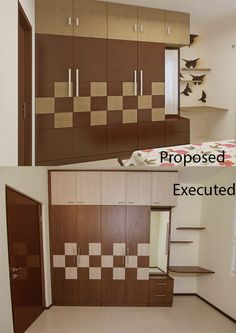 Proposed = Executed We tried our best to place this equal symbol between Proposed and Executed; and we are proud that we bagged one more designer to our collection. Wardrobe Interior Design, Wardrobe Door Designs, Wardrobe Design Bedroom, Bedroom Bed Design, Bedroom Furniture Design, Modern Bedroom Design, Closet Designs, Modern Interior Design, Master Bedroom