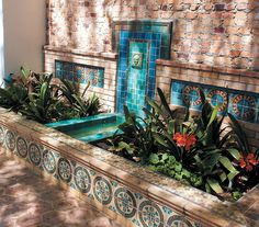 Accessories, : Captivating Home Exterior And Garden Decoration Using Blue Tile Wall Fountain Along With Cream Stone Outdoor Wall And Brown B. Outdoor Wall Fountains, Concrete Fountains, Garden Fountains, Outdoor Walls, Fountain Garden, Fountain Ideas, Fountain Design, Water Fountains, Outdoor Flooring