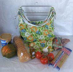2 Reusable Washable Market or Grocery Bags by CottageCreations