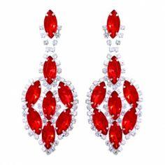 Red Drop Rhinestone Earring