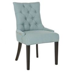 """Diamond-tufted side chair with birch wood legs and nailhead trim.  Product: Set of 2 chairsConstruction Material: Birch wood and fabricColor: Sky blueFeatures: Diamond tuftedDimensions: 36.4"""" H x 22"""" W x 23.8"""" D each"""