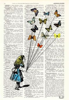 Alice in wonderland Alice and the flying butterflies Alice in Wonderland Collage Print on Vintage Dictionary Newspaper Art, Book Page Art, Wallpaper Iphone Disney, Iphone Wallpapers, Butterfly Art, Butterflies, Vintage Disney, Collage Art, Collage Ideas