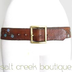 vintage 60s 70s handmade, deep walnut brown, full grain genuine thick, soft leather belt with hand tooled & hand painted western flower print & solid brass buckle. boho chic, hippie, coachella style! one of a kind! rare find! hot hollywood trend!  available now at salt creek boutique on eBay!
