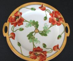 Poppies Cake Plate Fall Porcelain  Graceful Antiques Exclusive to Ruby Lane