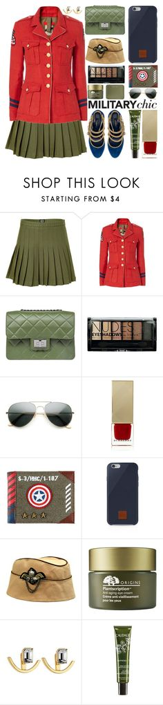 """""""Military Chic"""" by barbarela11 ❤ liked on Polyvore featuring McQ by Alexander McQueen, History Repeats, Design Inverso, Boohoo, ZeroUV, Burberry, Native Union, Origins, Stella Valle and Caudalíe"""