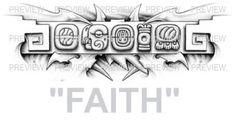 FAITH Mayan Glyphs Tattoo Design B » ₪ AZTEC TATTOOS ₪ Aztec Mayan Inca Tattoo Designs Instant Download