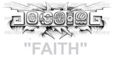 FAITH Mayan Glyphs Tattoo Design B » ₪ AZTEC TATTOOS ₪ Aztec Mayan Inca Tattoo Designs Instant Download