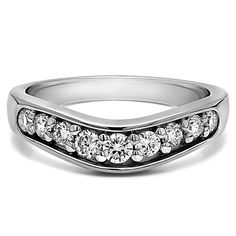 Sterling Silver Classic Contour Wedding Ring mounted with Cubic Zirconia (0.42 Cts. twt) (Two Tone Sterling Silver, Size 7.5), Women's, Two-Tone