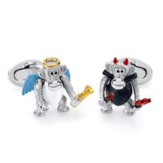 These Sterling Silver Enamel Devil & Angel Monkey Cufflinks are exclsuive to Birks
