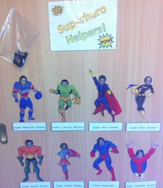 Superhero helpers for classroom jobs- kids love!