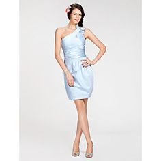 Short/Mini Satin Bridesmaid Dress - Sky Blue Plus Sizes / Petite Sheath/Column One Shoulder – USD $ 79.99