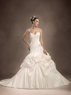 Strapless Satin Ball Gown with Asymmetrical Panels and Removable Straps