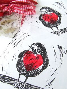 Inkmeup: Lino Printing Fun... layering 2-3 different prints in different colors.