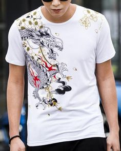 d62d3183de42 dragon t shirt for men chinese style animal tiger printed
