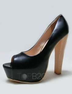 Gorgeous Black Chunky Heel PU Leather Women's Peep Toe Shoes